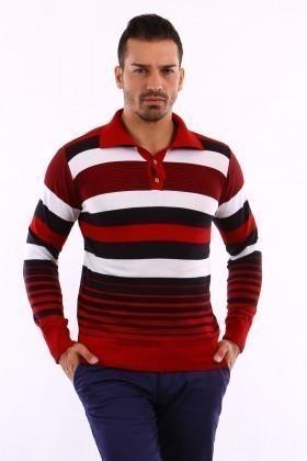C&T Kırmızı C-T 1003 Gömlek Yaka Kazak
