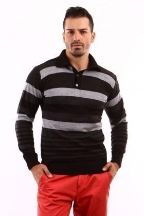 C&T Siyah C-T 1003 Gömlek Yaka Kazak