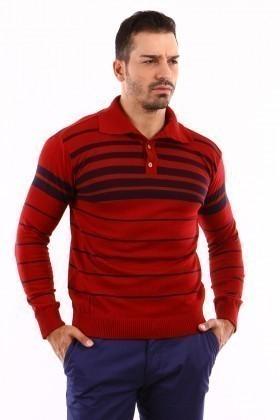 C&T Kırmızı C-T 1004 Gömlek Yaka Kazak