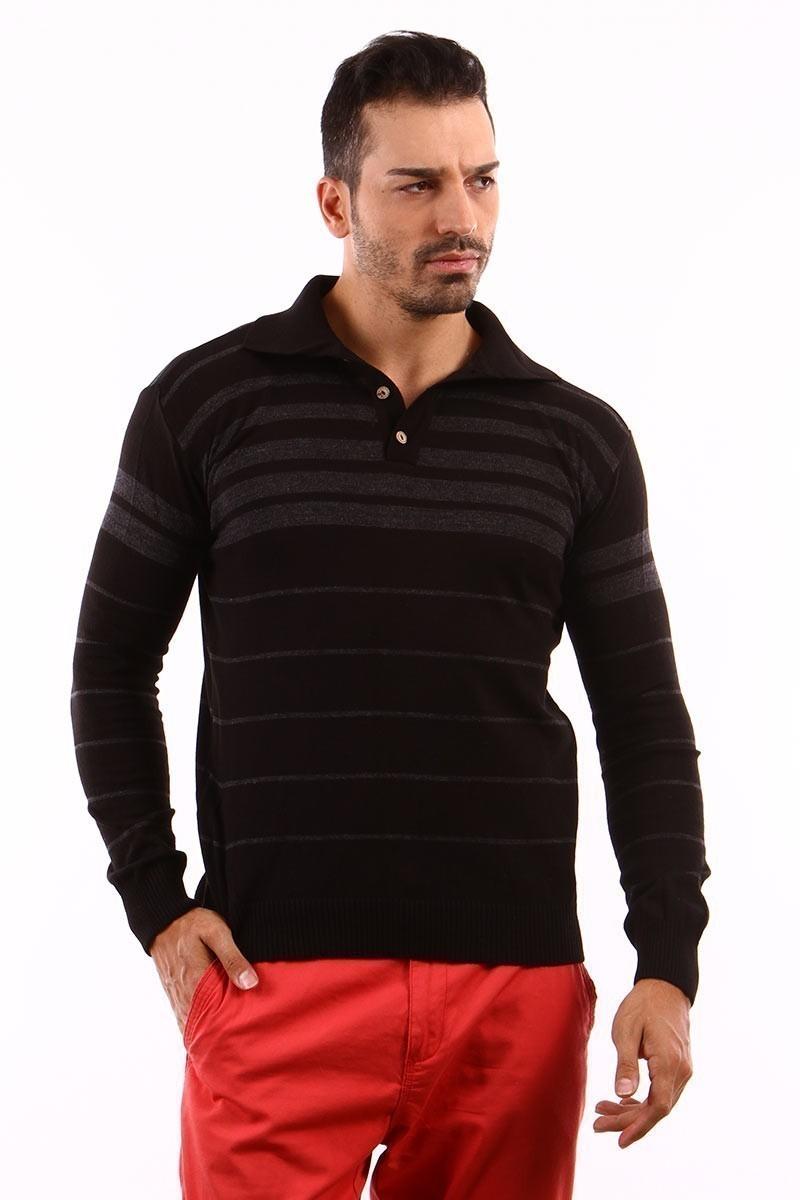 C&T Siyah C-T 1004 Gömlek Yaka Kazak