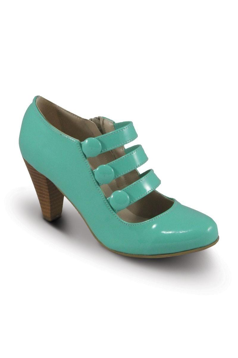 Obims Turkuaz SNG-031 Bayan Topuklu Düğmeli Ayakkabı