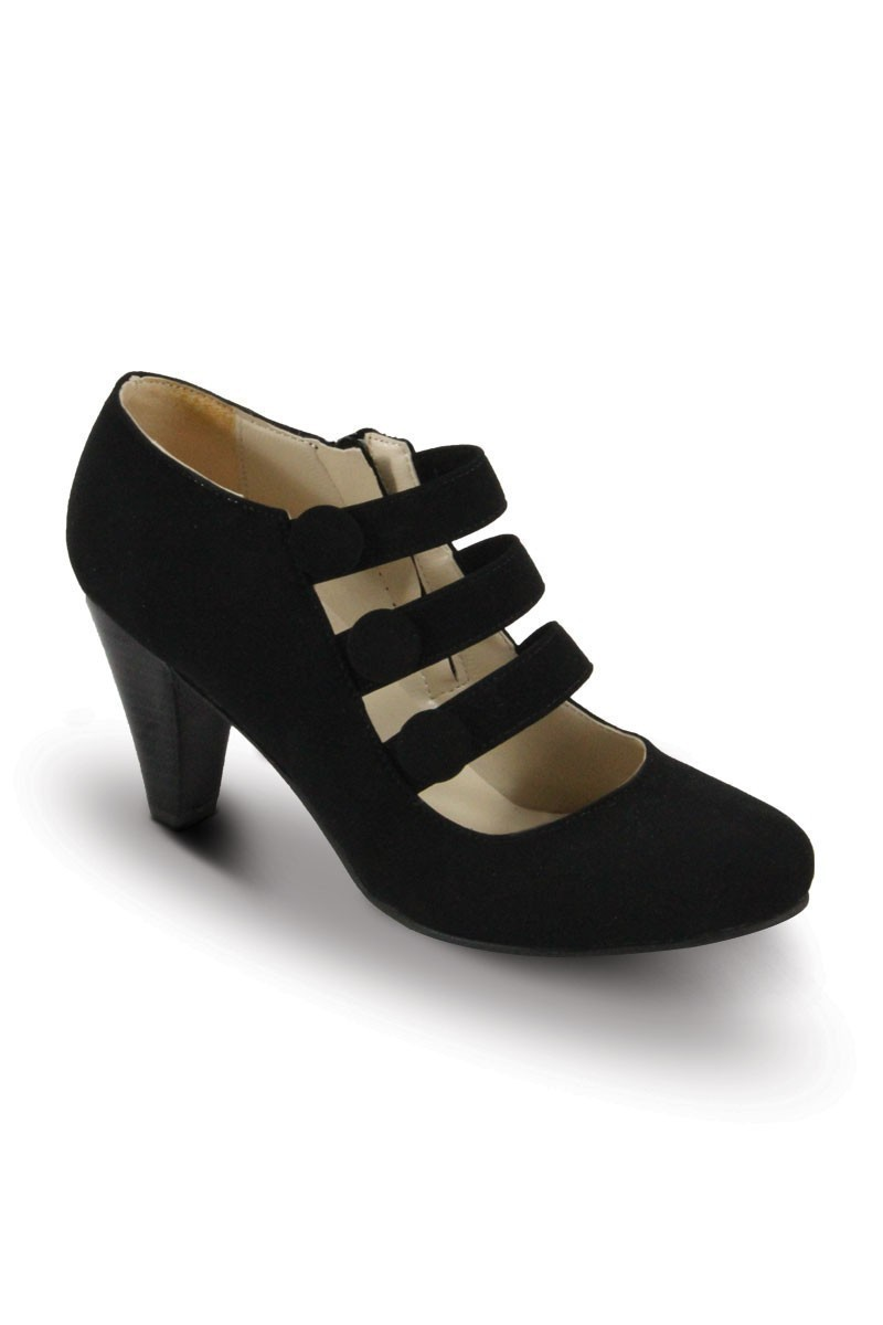 Obims Siyah SNG-033 Bayan Topuklu Düğmeli Ayakkabı
