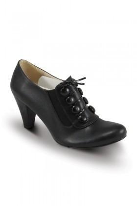 Obims Siyah SNG-034 Bayan Topuklu Düğmeli Ayakkabı