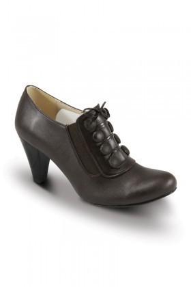 Obims Kahverengi SNG-035 Bayan Topuklu Düğmeli Ayakkabı