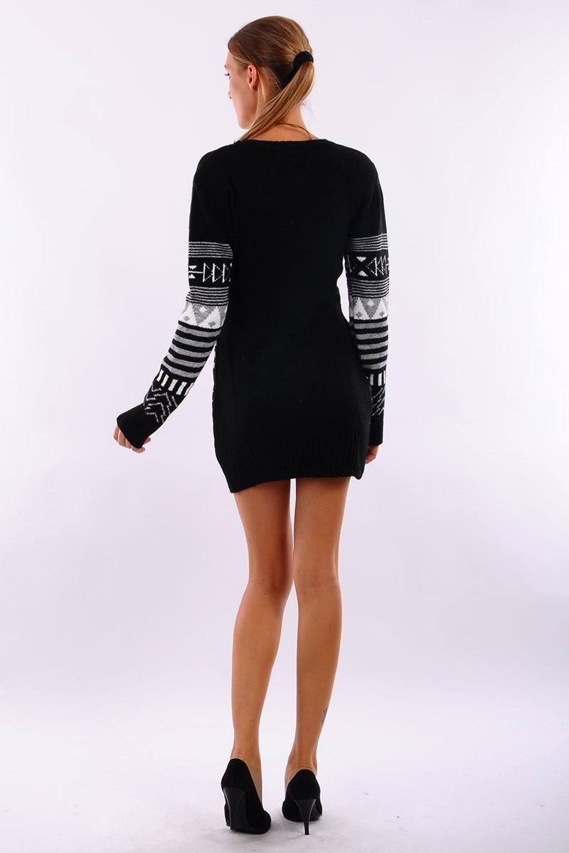 Prestij Siyah PRJ-518 Desenli Uzun Tunik