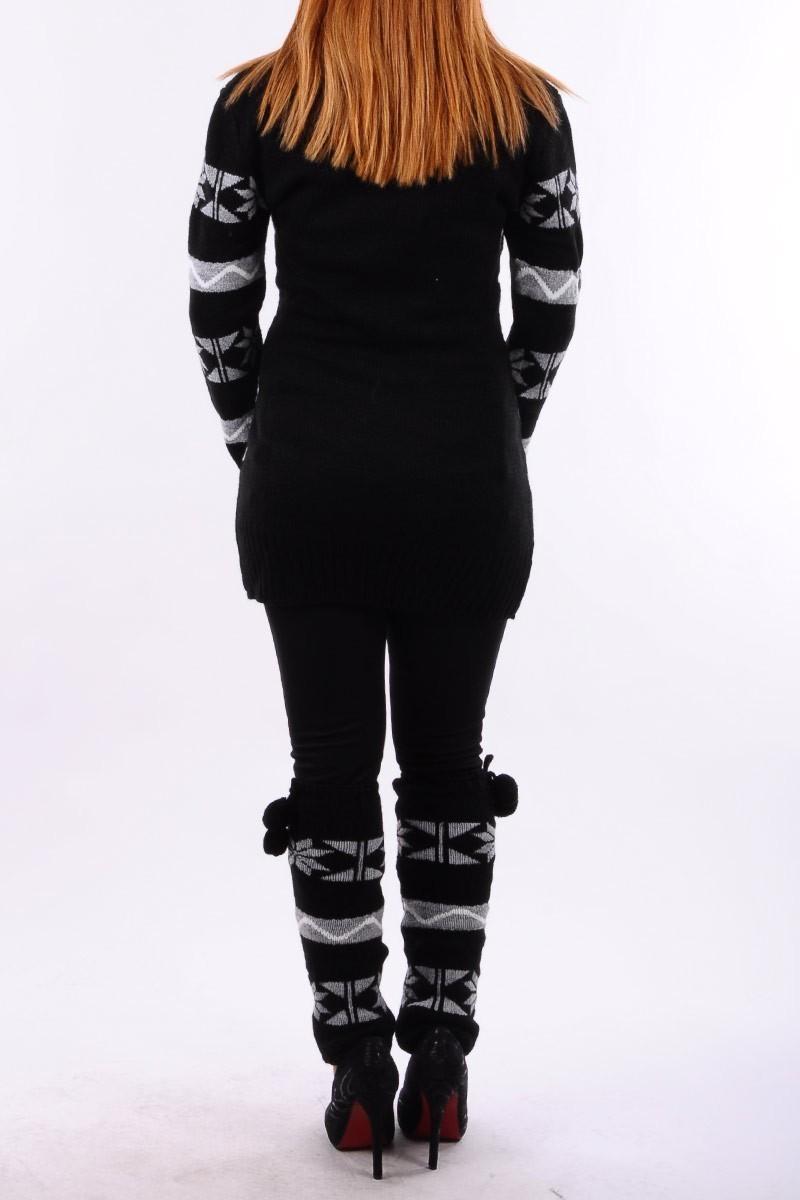 Prestij Siyah PRJ-516 Atkı ve Tozluk Takımlı Kalın Tunik