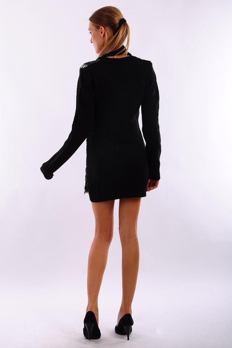 Prestij Siyah PRJ-511 Atkı Takımlı Uzun Tunik