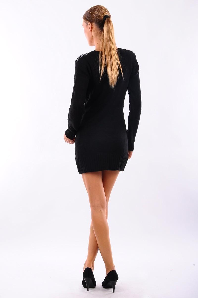 Prestij Siyah PRJ-500 Baklava Desen Uzun Tunik