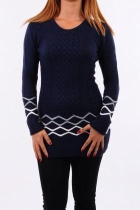 Prestij Lacivert PRJ-501 Desenli Uzun Tunik