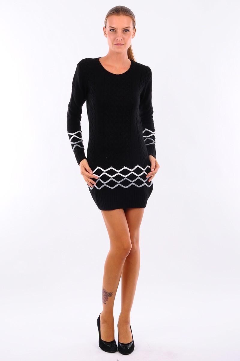 Prestij Siyah PRJ-501 Desenli Uzun Tunik