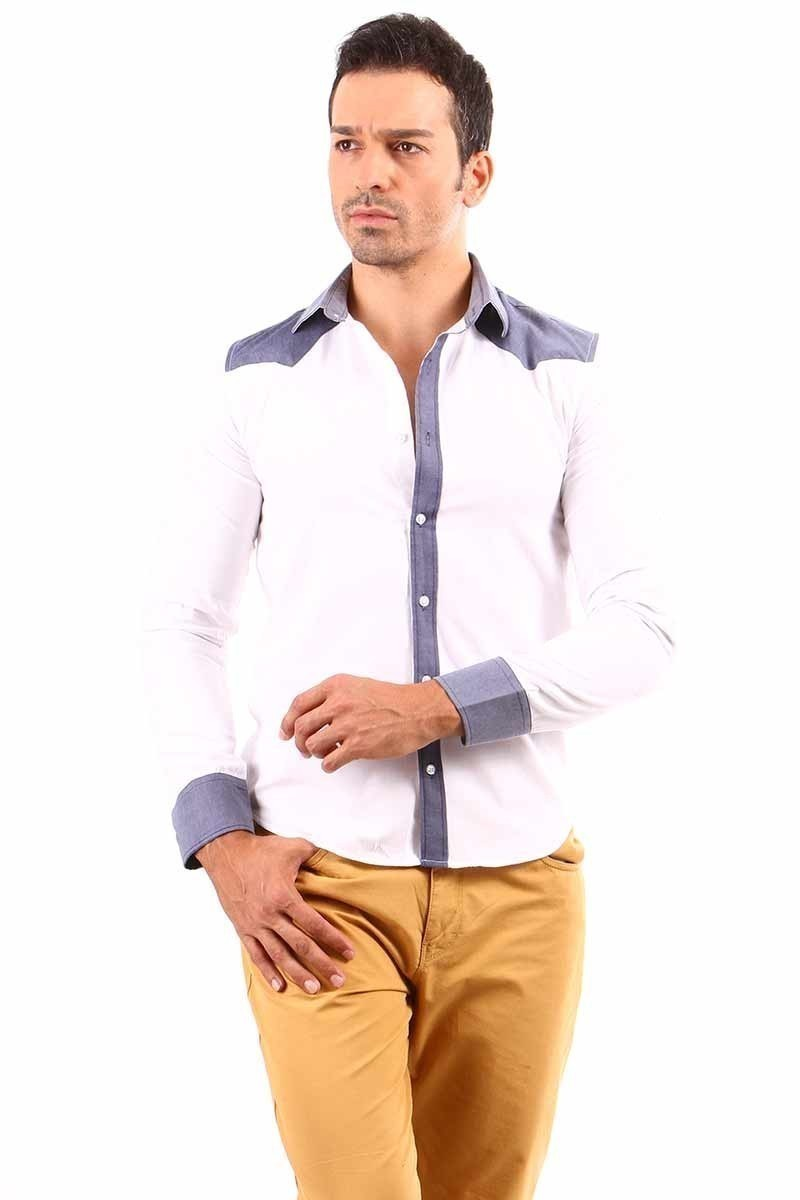 Jeans Collic Beyaz J-001 Kot Garnili Erkek Gömlek