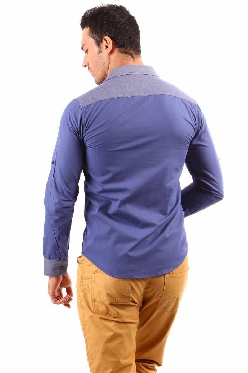 Jeans Collic Lacivert J-002 Kot Garnili Erkek Gömlek