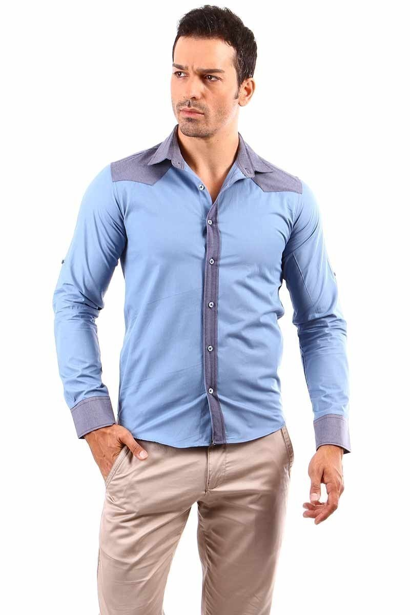 Jeans Collic Mavi J-003 Kot Garnili Erkek Gömlek