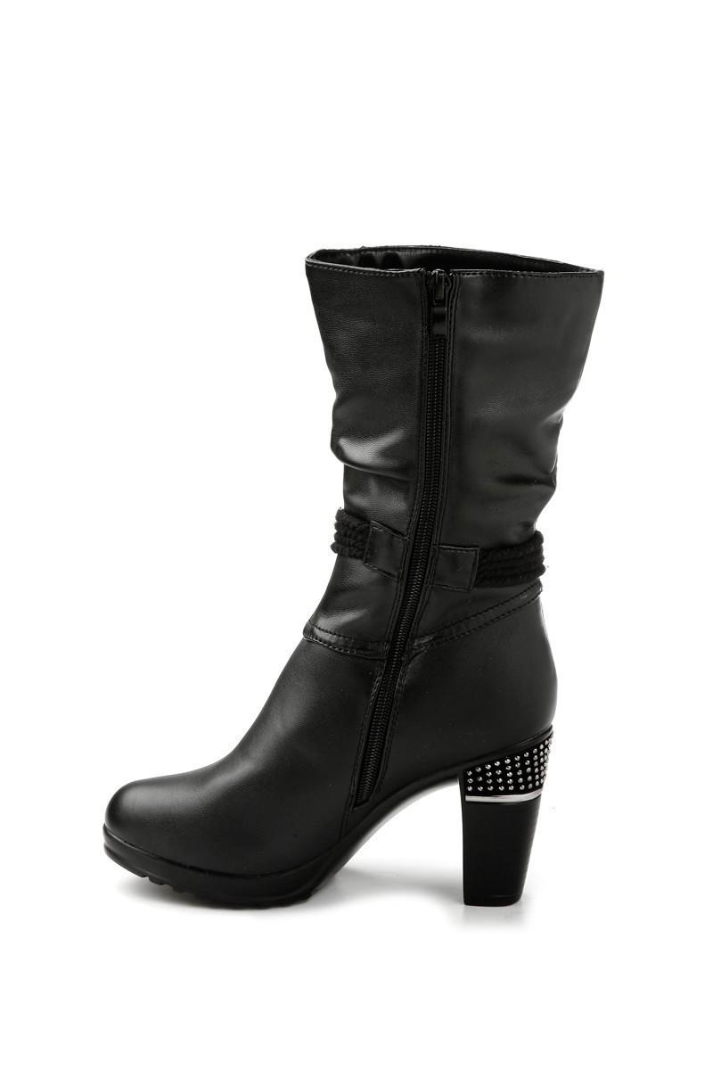Danpe Siyah DNP-60052-C2 Topuklu Bayan Çizme