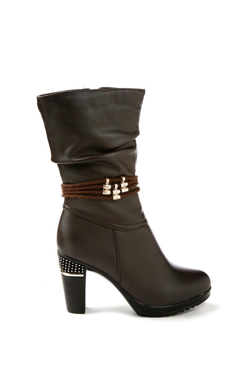 Danpe Kahverengi DNP-60052-C2 Topuklu Bayan Çizme