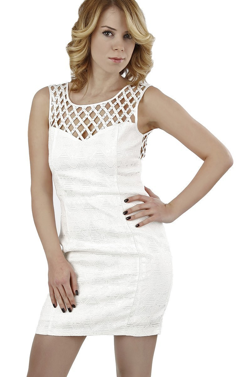 Miss Fashion Beyaz 201307 Mesh Bodycon Bayan Elbise