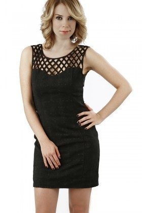 Miss Fashion Siyah 201307 Mesh Bodycon Bayan Elbise