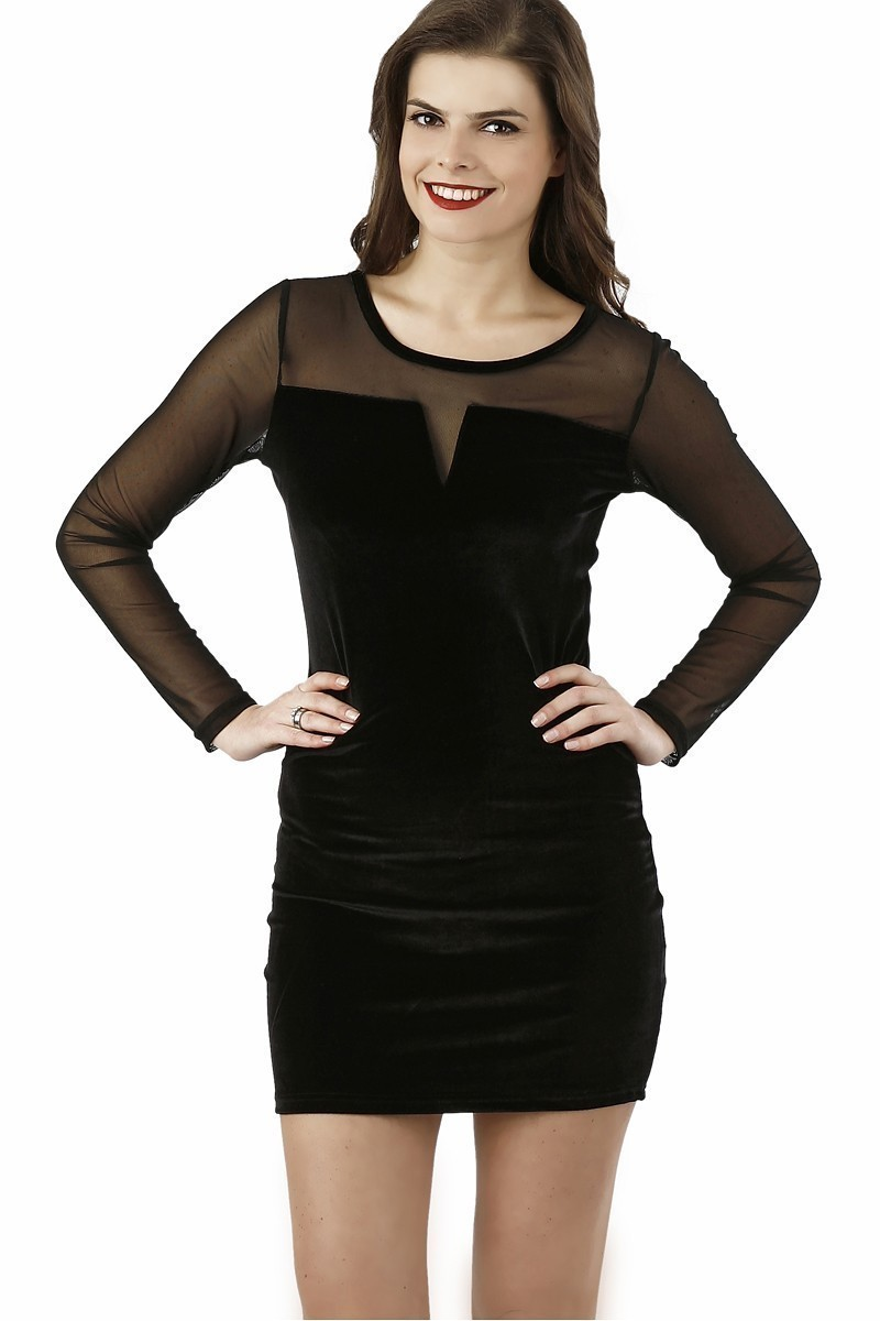 Miss Fashion Siyah 201314 Velvet Mesh Bodycon Bayan Elbise