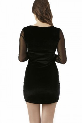 Fashion Siyah 201314 Velvet Mesh Bodycon Bayan Elbise