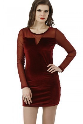 Fashion Bordo 201314 Velvet Mesh Bodycon Bayan Elbise