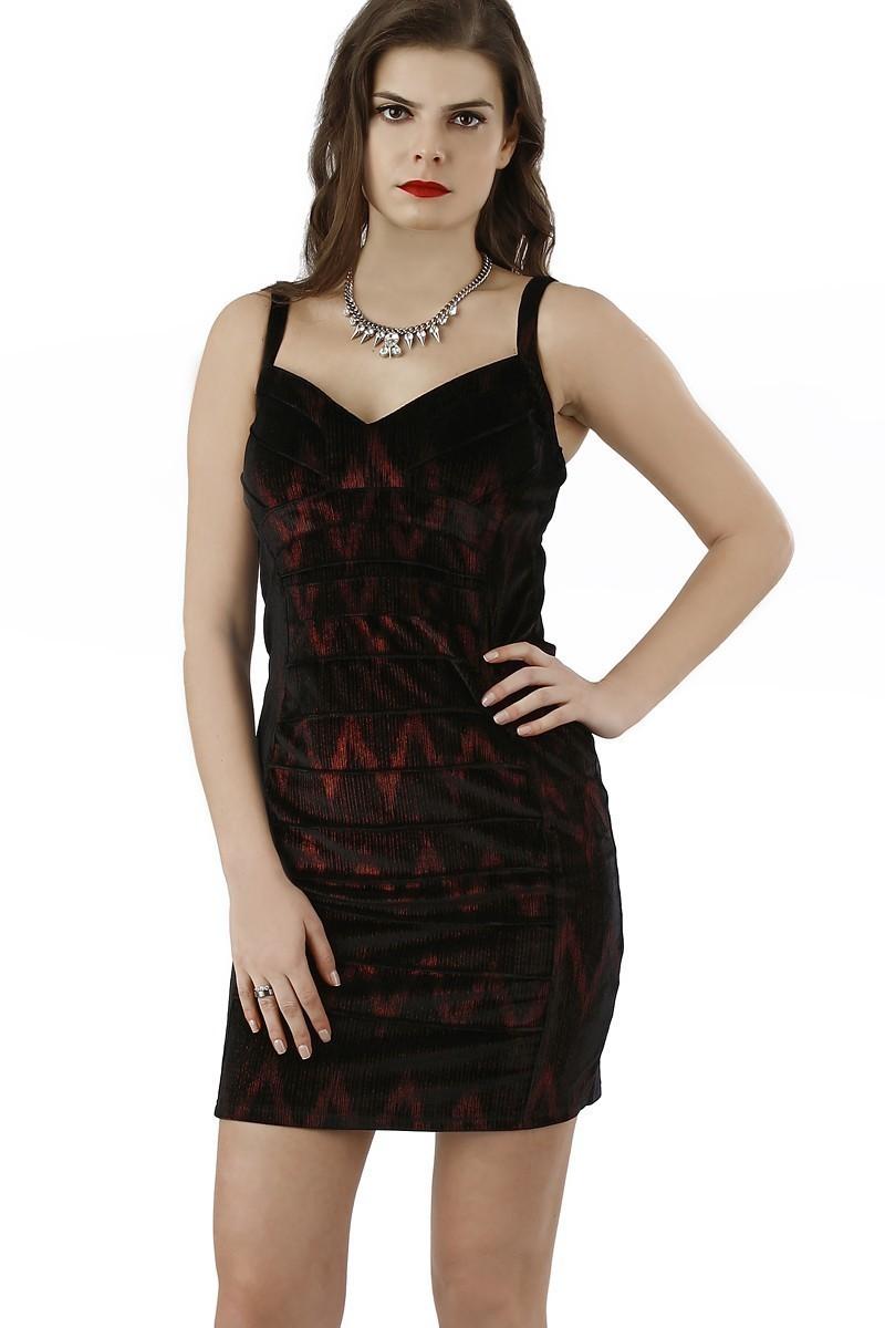 Miss Fashion Siyah-Kırmızı 201334 Bodycon Bayan Elbise