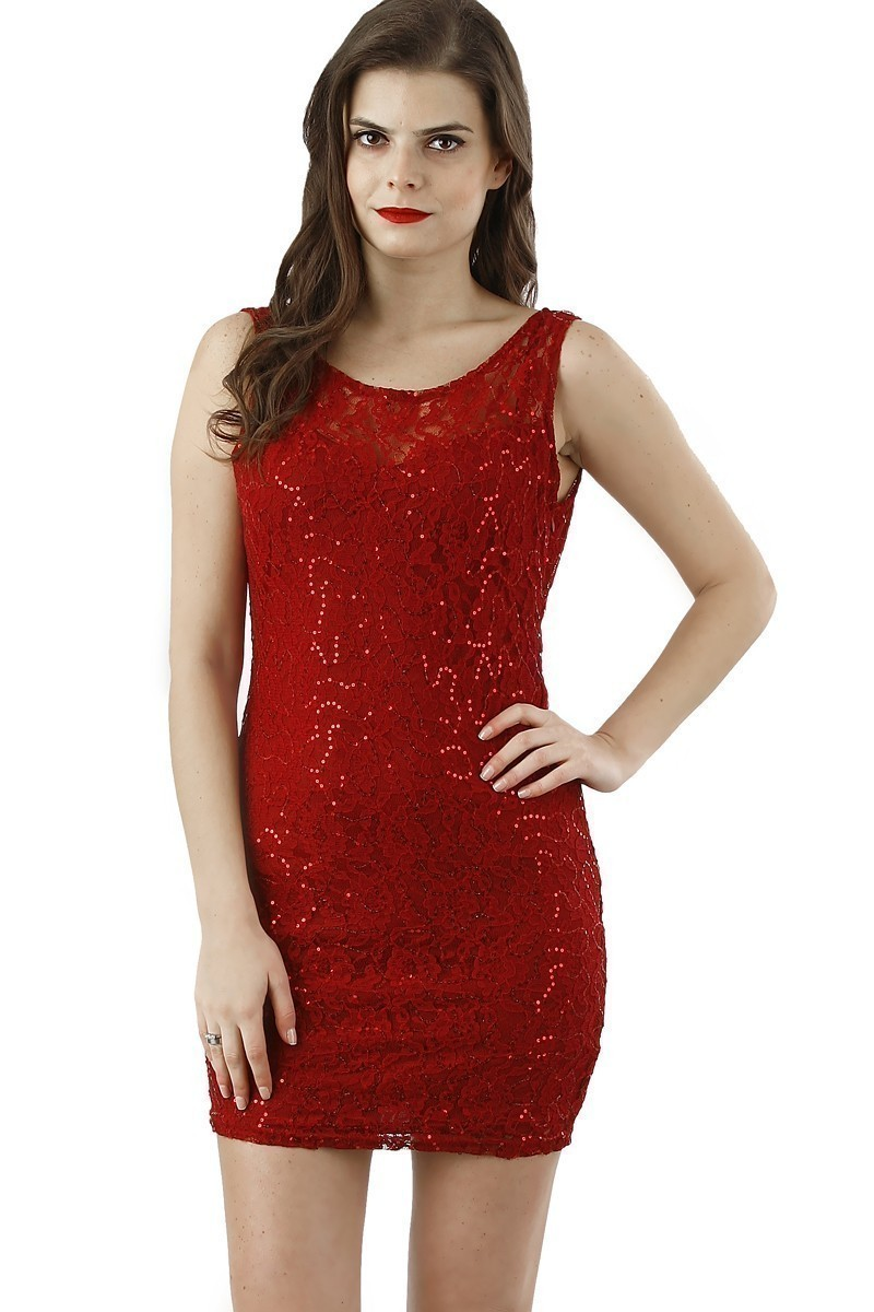 Miss Fashion Kırmızı 201315 Sequin Bayan Elbise