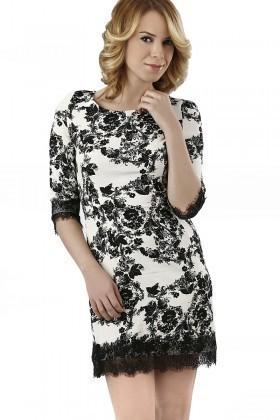 Miss Fashion Siyah-Beyaz 201333 Crochet Detail Bayan Elbise