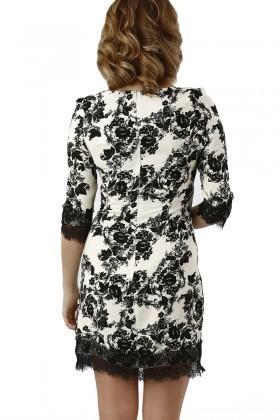 Fashion Siyah-Beyaz 201333 Crochet Detail Bayan Elbise
