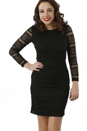 Fashion Siyah 201301 Lace Mid Bayan Elbise
