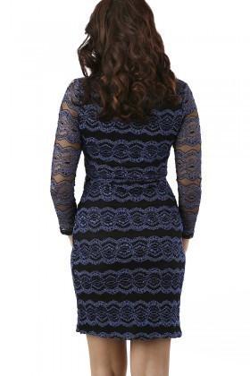 Miss Fashion Mavi 201301 Lace Mid Bayan Elbise