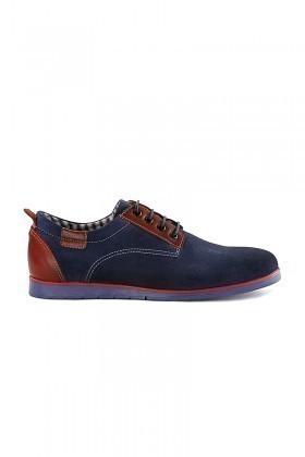 Pandew Lacivert-Kırmızı RMR-7057 Hakiki Deri Erkek Ayakkabı