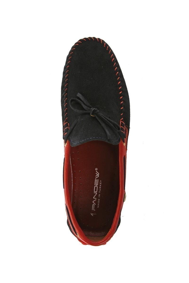 Pandew Lacivert-Kırmızı PNDW-FR-SUET-BAG Hakiki Deri Erkek Ayakkabı