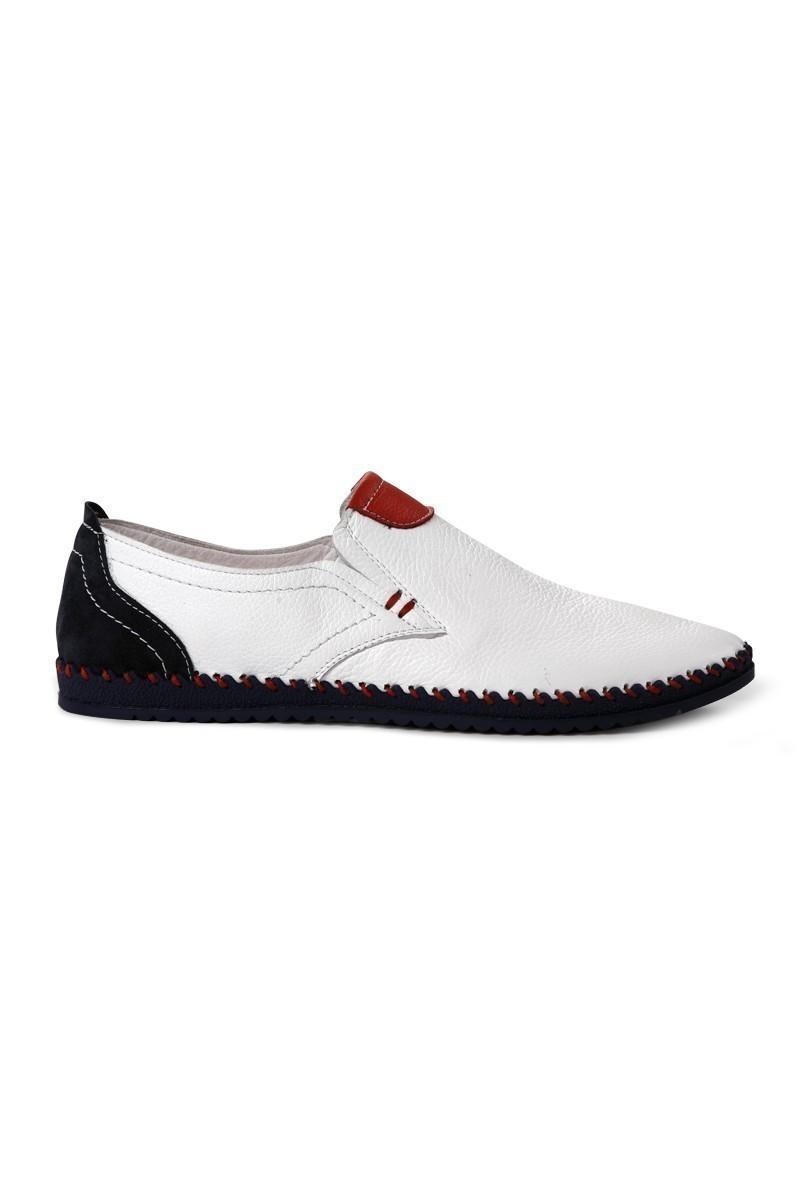 Pandew Beyaz-Kırmızı-Lacivert PNDW-5025 Hakiki Deri Erkek Çarık