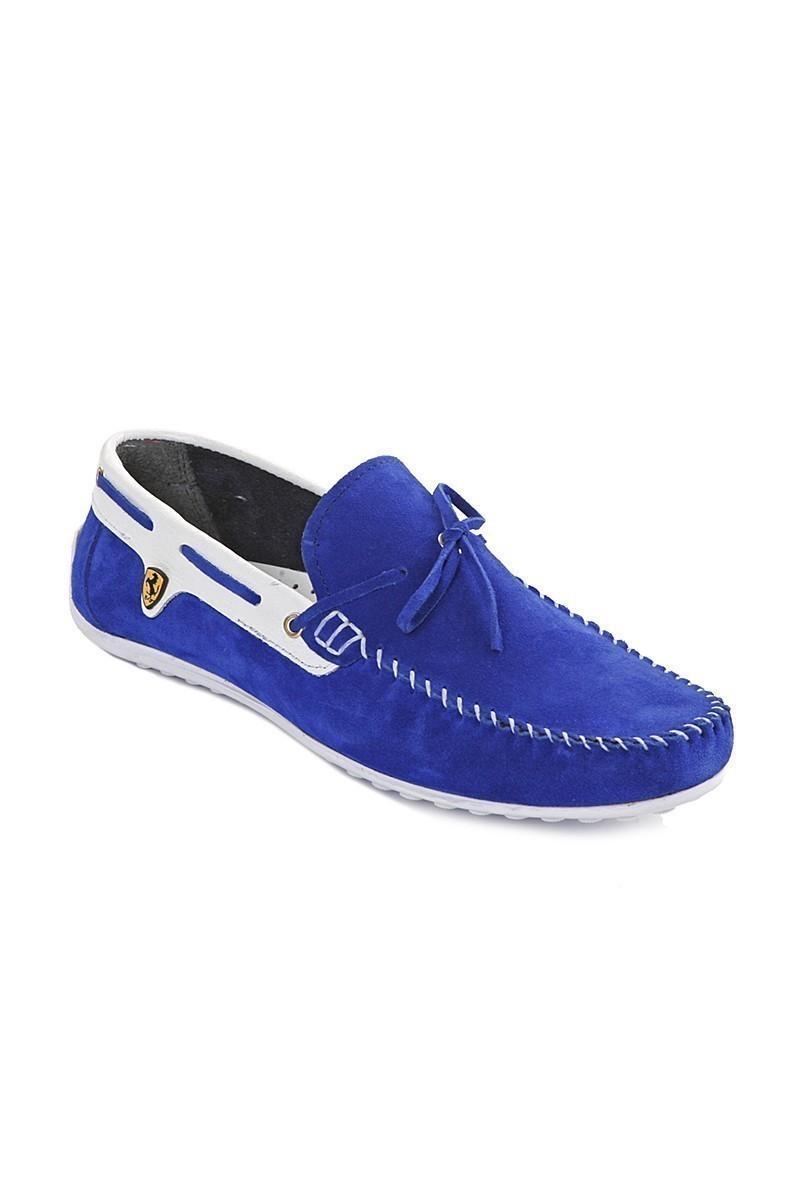 Pandew Mavi-Beyaz PNDW-FR-SUET-BAG Hakiki Deri Erkek Ayakkabı