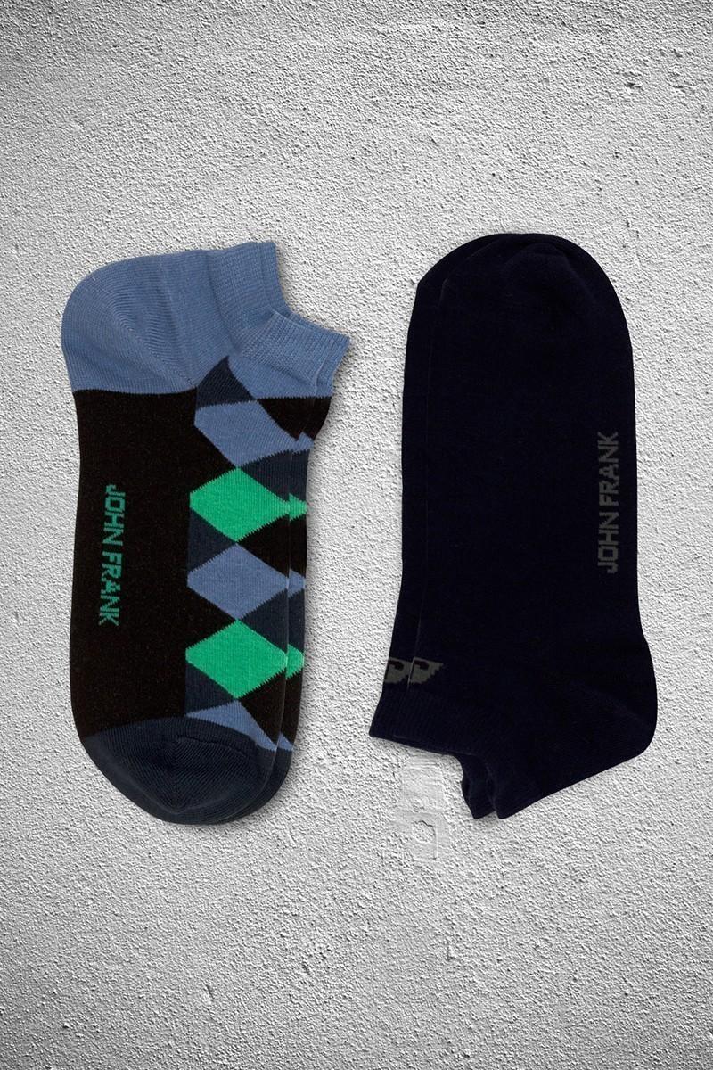 John Frank JF2SK01SIYAH-YESIL Erkek Çorap 2li Paket
