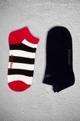 John Frank JF2SK04KIRMIZI-LACIVERT Erkek Çorap 2li Paket