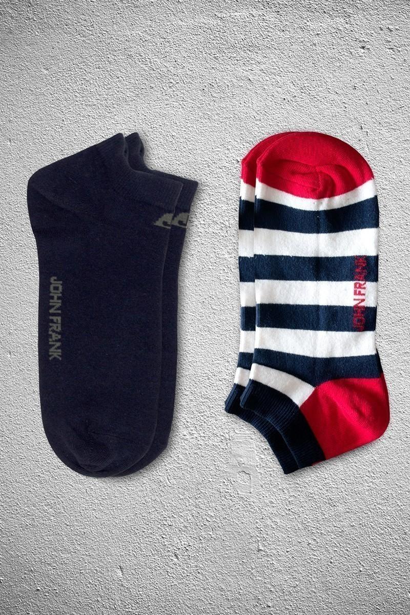John Frank JF2SK08-LACI-BEYAZ Erkek Çorap 2li Paket