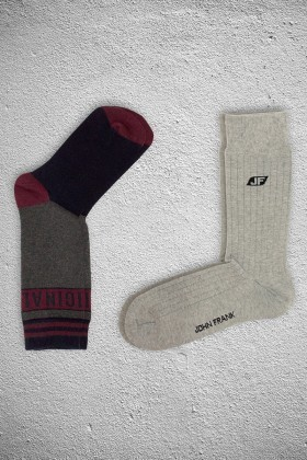 John Frank JF2SU01GRIMELANJ-BORDO Erkek Çorap 2li Paket