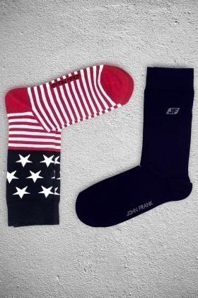 John Frank JF2SU12KIRMIZI-LACIVERT Erkek Çorap 2li Paket