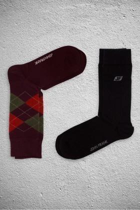 John Frank JF2SU14BORDO-SIYAH Erkek Çorap 2li Paket