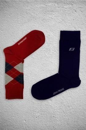 John Frank JF2SU14KIRMIZI-LACIVERT Erkek Çorap 2li Paket