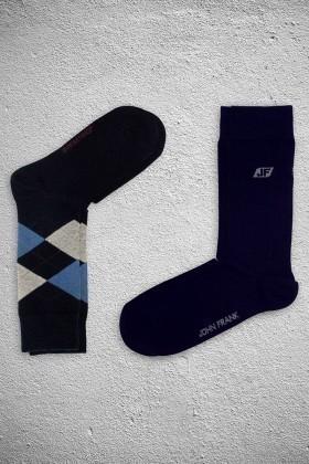 John Frank JF2SU14MAVI-LACIVERT Erkek Çorap 2li Paket