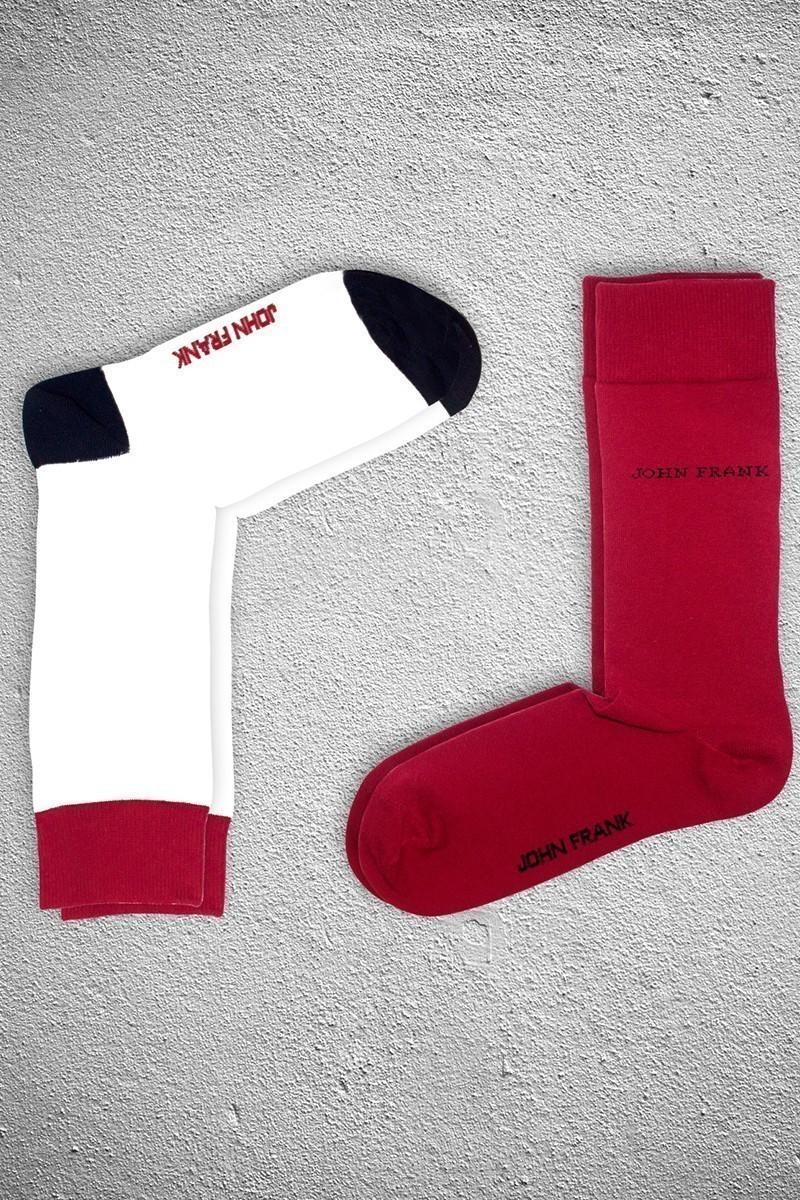 John Frank JF2SU17BEYAZ-KIRMIZI Erkek Çorap 2li Paket