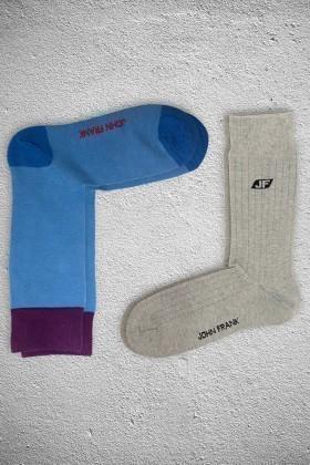 John Frank Mavi JF2SU17MAVI-GRIMELANJ Erkek Çorap 2li Paket