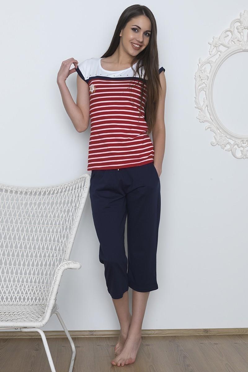 Baha Kırmızı-Lacivert BH-2511-KIRMIZI Bayan Pijama Takımı