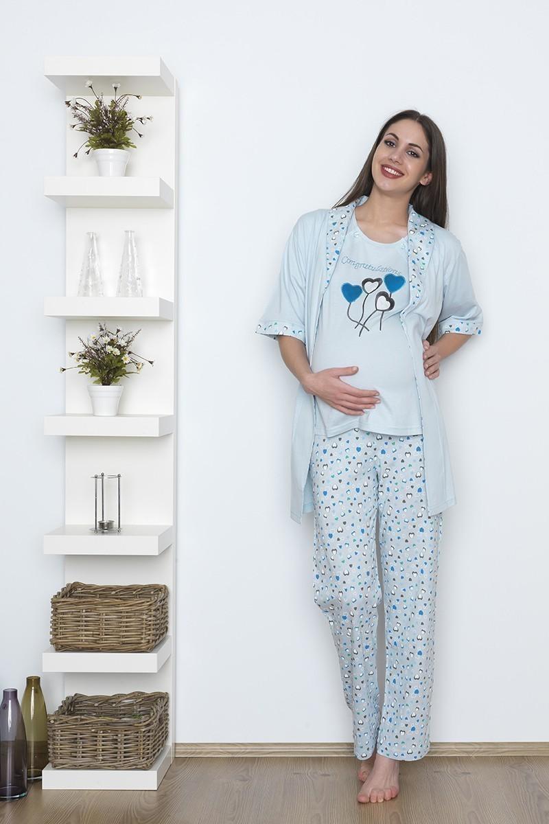 Baha Mavi BH-2346-MAVI Lohusa Pijama Takımı
