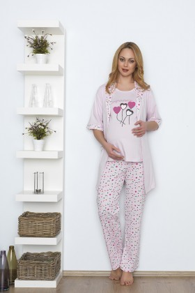 Baha Pembe BH-2346-PEMBE Lohusa Pijama Takımı