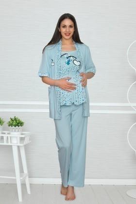 Baha Mavi BH-2501-MAVI Lohusa Pijama Takımı
