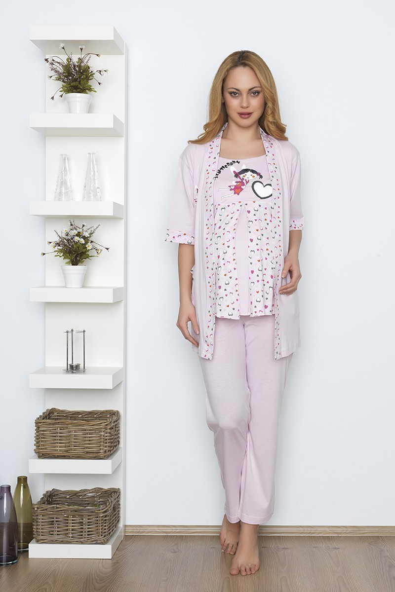 Baha Pembe BH-2501-PEMBE Lohusa Pijama Takımı