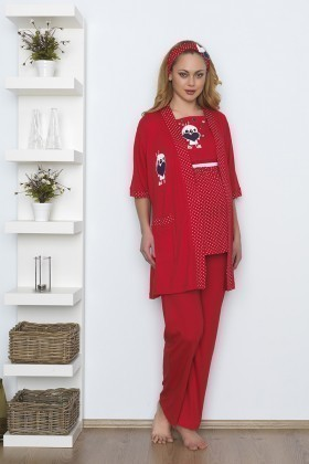 Baha Kırmızı BH-2513-KIRMIZI Lohusa Pijama Takımı